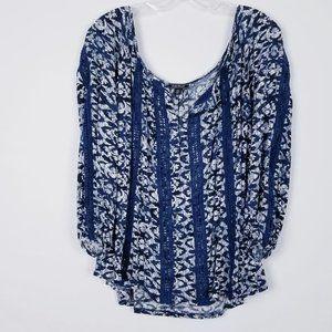 LUCKY BRAND Oversize Billowy Peasant Top Crochet L